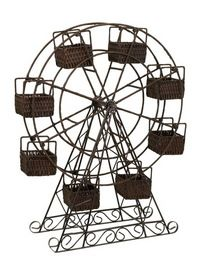 IMAX 67108 Rattan and Metal Ferris Wheel with Planter Baskets