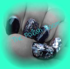 oh yea, black, silver, sparkles, glitter, foils, nail art, freehand, natural nails, gel polish, manicure, artistic colour gloss,