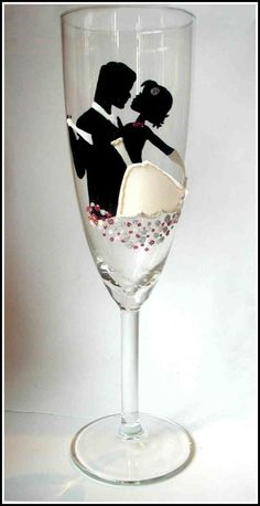 Handpainted Wine Glasses for Wedding Top table, Wedding Gifts, Wedding Favours