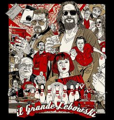 The Big Lebowski Poster Illustration by Tyler Stout O Grande Lebowski, El Gran Lebowski, Big Lebowski Poster, The Big Lebowski Movie, Best Movie Posters, Movie Poster Art, Poster Drawing, Jeff Bridges Movies, Non Plus Ultra