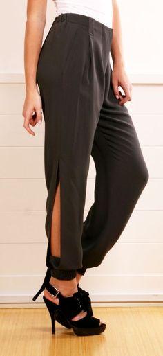 Grey Side-Slit Pants.