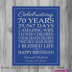 70th BIRTHDAY GIFT Birthday Sign Canvas Personalized Gift For Dad Mom Grandpa Grandma Art Print Poster Banner Custom