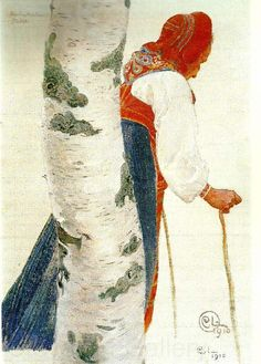 peinture suédoise : Carl Larsson, Bodakulla, 1910, vieille femme, folklorique