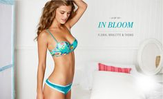 Nina Agdal - Aerie Perfect Paris Lingerie (May 2013) - Floral Bralette and Thong
