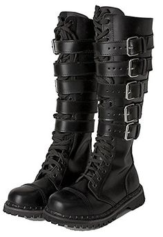 35c5c65ef Boots for Burning Man  Leather Steel Toe Knee High Strapped Biker Steampunk  Gothic Grunge Hipster
