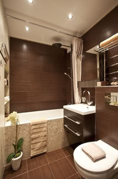 Little bathroom ideas to maximize your tiny space. Although with a small dimension we will certainly produce an ambience that feels larger than it truly is. Here's the idea of maximizing a little. Home Interior, Bathroom Interior, Interior Decorating, Interior Design, Bathroom Ideas, Bathroom Layout, Brown Bathroom, Bathroom Sink Vanity, Paint Colors For Living Room