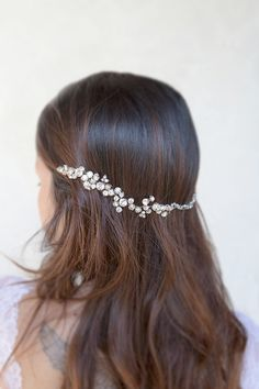 Bridal rhinestone headpiece, hair comb, headpiece jewelry, wire wrapped in silver - Cherie
