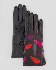 Leather Lips Gloves, Black Multi by Diane von Furstenberg at Bergdorf Goodman, $195.00