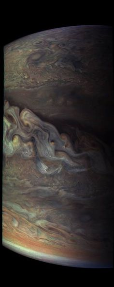 Waves of clouds at 37.8 degrees latitude dominate this three-dimensional Jovian cloudscape, courtesy of NASA's Juno spacecraft. JunoCam obtained this enhanced-color picture on May 19, 2017, at 5:50 UTC from an altitude of 5,500 miles (8,900 kilometers).