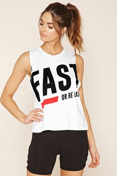 Active Be Fast Graphic Tank - Women - Activewear - 2000201083 - Forever 21 EU English Girls Fashion Clothes, Girl Fashion, Fashion Outfits, Nike Shirts Women, Boys Shirts, Yeezy Fashion, Fitness Wear Women, Estilo Fitness, Workout Attire