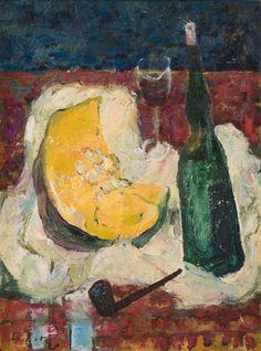 Still life with pumpkin and wine bottle - Adolf Herbst Swiss, 1909 - 1983 oil on canvas, 57 x cm x in) Food Painting, Still Life, Oil On Canvas, Pumpkin, Wine, Bottle, Paintings, Entertaining, Switzerland