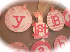 Happy first 1st Birthday Banner girl birthday by ThePinkPapermill, $25.50