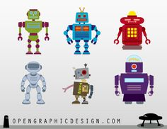 Free Retro Robot Toys in Scalable Vector Art | OpenGraphicDesign.com