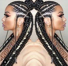 African usual hairstyles Cute Fulani braids are in trend. We bring you this latest inspirational fulani braids that you will adore to wear. African Braids Hairstyles, Girl Hairstyles, Braided Hairstyles, Black Hairstyles, Hairstyles 2016, Hairstyle Braid, Trendy Hairstyles, Braided Mohawk, Short Haircuts