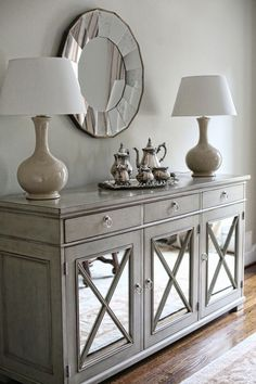 8 Top Foyer Design Tips to Rock Your Foyer Decor ~ oneplustwo design co - All For Decoration Entryway Console Table, Dining Room Sideboard, Dining Furniture, Entryway Decor, Sideboard Buffet, Mirrored Sideboard, Buffet Cabinet, Mirrored Furniture, Tv Console Tables