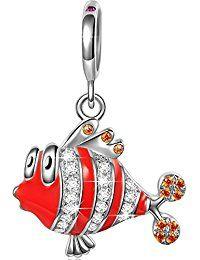 Ninaqueen 925 Sterling Silver Enamel Ocean Clownfish Dangle Charms Fit Pandora Bracelet  ASIN: B00X146GGY Item model number: CSG05342BW