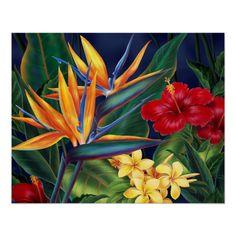 Hawaiian Art, Hawaiian Tattoo, Hawaiian Flowers, Tropical Flowers, Tropical Plants, Floral Illustrations, Illustration Art, Sea Glass Mosaic, Valentine's Day Poster