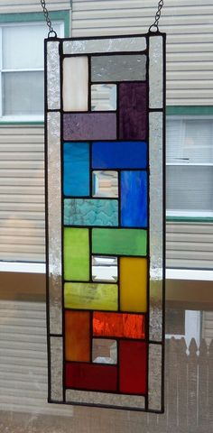 New-Rainbow Colors & Beautiful Bevels-Geometric-Stained Glass Panel - Cool Glass Art Designs Stained Glass Quilt, Faux Stained Glass, Stained Glass Lamps, Stained Glass Designs, Stained Glass Panels, Stained Glass Projects, Stained Glass Patterns, Leaded Glass, Mosaic Glass