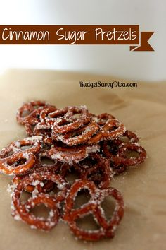 8oz pretzels,1/4 cup sugar, 1 tsp cinnamon, 1/3 cup vegetable oil. Combine all ingredients. Lay pretzels in a single layer on parchment paper on a cookie sheet. Bake 20 minutes at 300– flip once