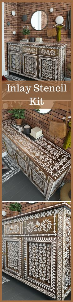 I need to have this in my life. I love these stencil kit. #inlay #boneinlay #ad #furniture #stencil