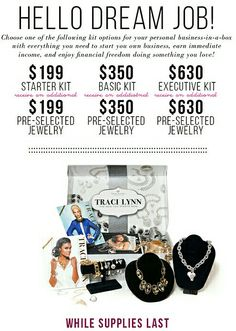 Ok, so you get one of the best deals to join an awesome company and get to be apart of our new 20,000 consultants with Traci Lynn Jewelry!!! Begin making your own living being your own boss or have fun with part time hours that you set for yourself! If you're interested in learning more or are ready to jump all in and join my team email me or call me directly. Also visit my site to sign up anytime.