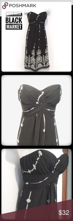 WHBM Black Strapless Dress w Cream Detail Flowing Beautiful strapless dress by WHBM. The dress has a sheer patterned overlay of softly patterned details. The gathered top portion of the dress is beautiful and has an included softly padded bra. The dress has a soft and flowing design, extremely flattering! Gorgeous! This dress is in excellent condition and ready to enjoy! White House Black Market Dresses