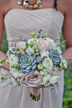 bouquet of blues and blush