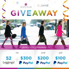 I just entered the Jane.com #Giveaway for a chance to win 52 White Plum leggings and $300 CASH!