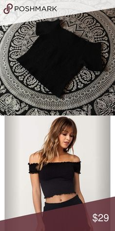 Scrunched Black Off Shoulder Top Cotton On top not Missguided, it has slight white marks from deodorant but can be washed off. Picture is an example Missguided Tops