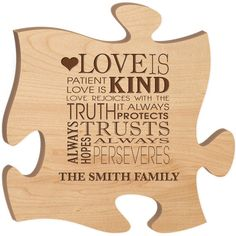 Personalized Family Puzzle Wall pieces Love is Patient, Love is Kind Custom Wall plaque Custom engraved Puzzle Piece, laser engraved puzzle Personalized Wedding, Personalized Gifts, Handmade Gifts, Custom Engraving, Laser Engraving, Rejoice Always, Wedding Gifts For Parents, 1st Wedding Anniversary, Love Is Patient