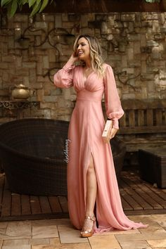 Long party dress with long sleeve Wedding Party Dresses, Bridesmaid Dresses, Prom Dresses, Formal Dresses, Damas Rose, Sequin Party Dress, Pink Gowns, Outfit Trends, Beautiful Dresses