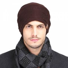 Autumn winter knit beanie hat for men warm casual sports knit hats