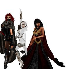 2nd Group Mid Evil Photo Shoot.. Left: Gaia ( our IMVU Mother ), Center: Dies ( Owner / Model ), & Right: Misty ( myself, Co-Owner / Model )