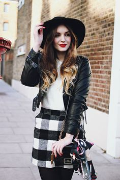 Topshop Gingham Check Skirt Outfit Fluffy Jumper Fedora by What Olivia Did, via Flickr