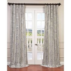 Half Price Drapes Ankara Silver 120 x Embroidered Faux Silk Curtain Single Panel - Our Embroidered Faux Silk Curtains are defined by a unique sheen and Silver Curtains, Sheer Linen Curtains, Cotton Curtains, French Curtains, Luxury Curtains, Curtains 1 Panel, Sheer Curtain Panels, Window Curtains, Curtain Rods