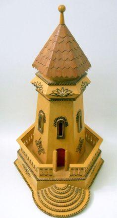 Minaret Wooden Building Replica Muslim Mosque Call to Prayer Cone Top 5 Sides