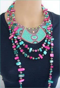 Necklace bib / leather Pink/Turquoise Collier plastron