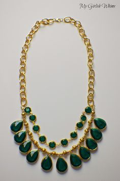 DIY Emerald Charm Statement Necklace | My Girlish Whims