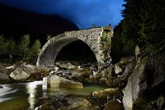Old stone bridge, Switzerland.