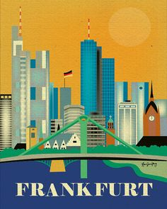 Frankfurt, Gremany Vertical Skyline - Destination Travel Wall Art for Home, Gift, Office, Dorm, Nursery - style E8-O-FRAN via Etsy