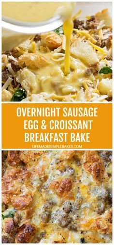 This overnight sausage, egg and croissant breakfast bake is the perfect way to start the day! It's delicious, filling and super easy to prep!