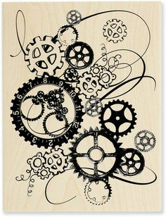 SteamPunk Gears Clock Works Large Wood Mounted Rubber Stamp by . Steampunk Crafts, Steampunk Clock, Steampunk Design, Clock Drawings, Doodle Drawings, Gear Drawing, Gear Tattoo, Gravure Laser, Tinta China