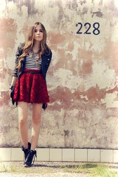 Red skirt and stripe shirt. Hit or miss? | LUUUX