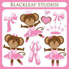 Cute Ballerina Monkey is a fun and adorable set and a great way to adorn your invitations, cards, stationery, scrapbooks, digitized embroidery, wall decals or even premade logos.      This set comprises of 8 graphical elements to embellish your crafts.