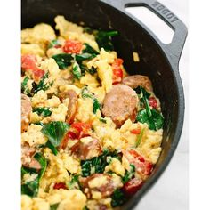 Italian Sausage Breakfast Scramble With Tomatoes, Basil And Parmesan Cheese on feedfeed