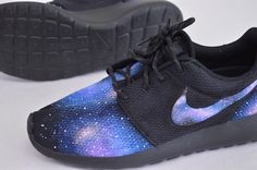 These custom hand-painted Nike Roshe Runs have galaxy pattern on the toe heel and Nike swoosh. About Roshe Runs: Inspired by the practice of meditation and the concept of Zen, the Nike Roshe Run epito