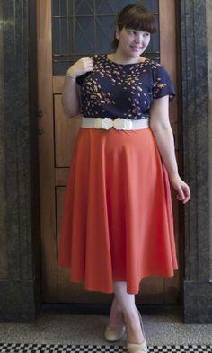 graphic tee + colorful midi skirt {via Already Pretty}
