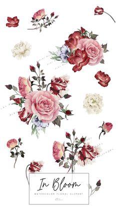 Floral Wallpaper Iphone, Vintage Flowers Wallpaper, Flower Background Wallpaper, Flower Backgrounds, Watercolor Illustration, Digital Illustration, Watercolor Flowers, Watercolor Paintings, Washi