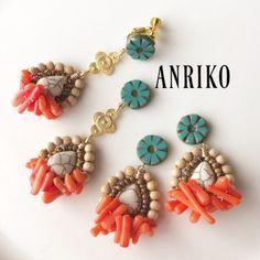 ANRIKO春夏新作★ピカソオレンジコーラルビジューピアス   ロングタイプ | ハンドメイドマーケット minne