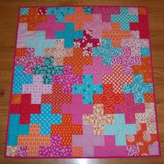 """Pink, Orange and Aqua """"Plus"""" Baby Quilt by The Spotted Elephant Boutique, via Flickr"""
